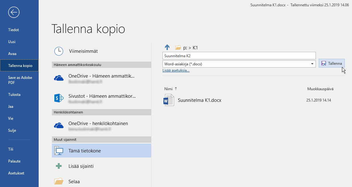 Office 365 tallenna nimellä toiminnosta pilvipalvelussa tallenna kopio
