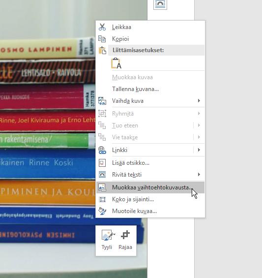 Office 365 vaihtoehtokuvauksen muokkaus