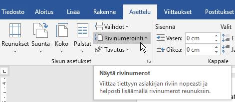 Office 365 rivinumerointi Asettelu-välilehdellä