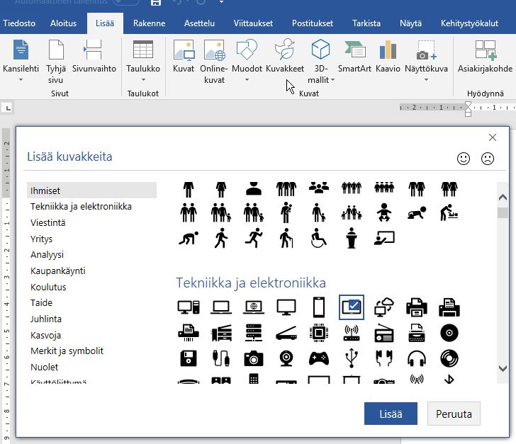 Lista kuvakkeista Office 365 -sovelluksissa.