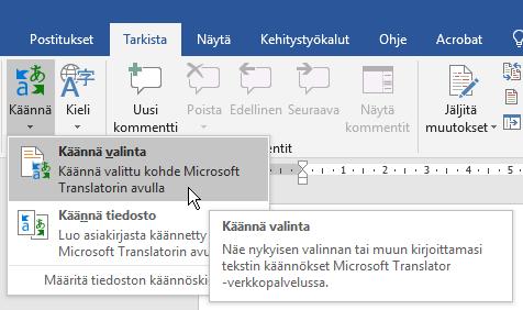 Office 365 tekstin konekäännös Tarkista-välilehden käännä-toiminnolla
