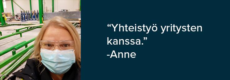 Annen kuva ja kommentti: yhteistyö yritysten kanssa