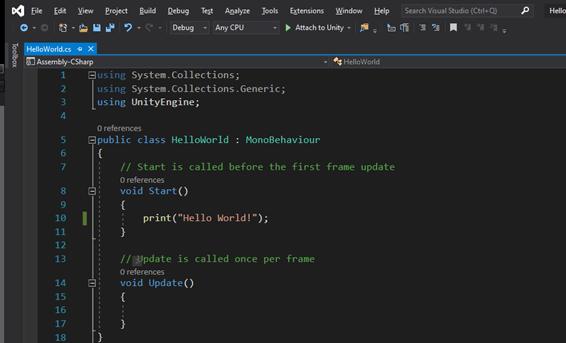 HelloWorld ohjelmointi Unity-pelimoottorilla