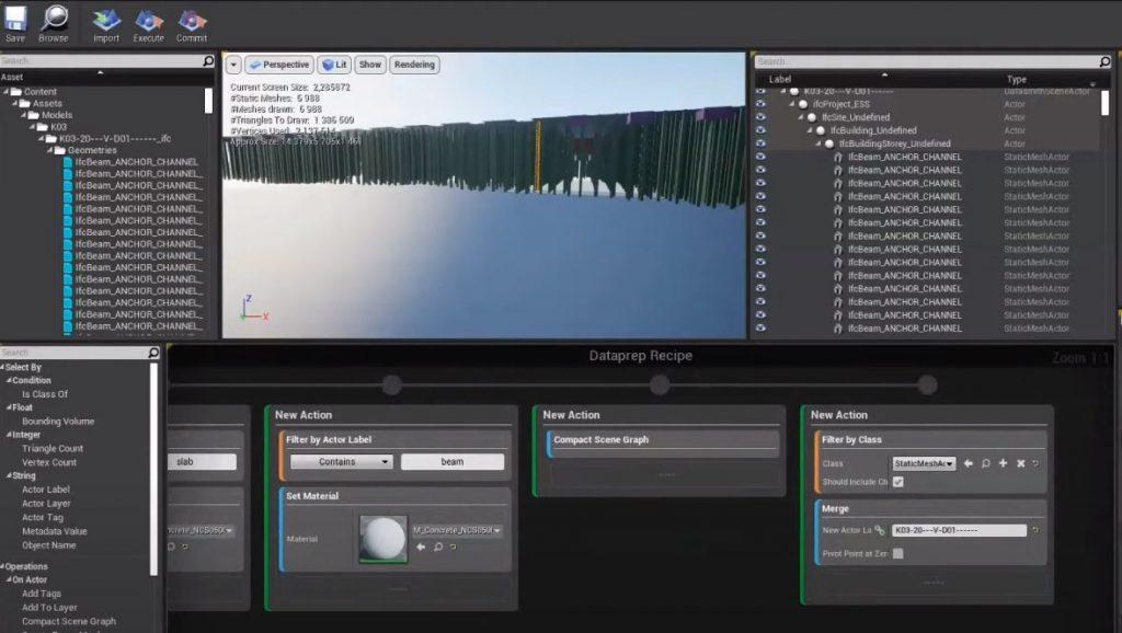 Visual Dataprep-työtila Unreal Enginessä