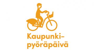 Kaupunkipyöräpäivän logo Pyörällä treeneihin -logo, jossa yksinkertaistettu keltainen piirretty siluettikuva henkilöstä ajamassa kaupunkipyörällä
