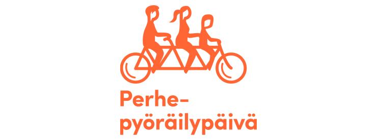 Perhepyöräilypäivän -logo, jossa yksinkertaistettu oranssi piirretty siluettikuva kolmesta pyöräilijästä