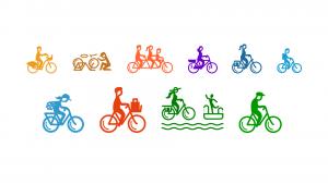 Pyöräilyviikon teemapäivien logot, joissa ihmisiä pyöräilemässä eri pyörillä