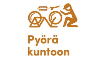 Pyörä kuntoon -päivän logo, jossa yksinkertaistettu ruskea piirretty siluettikuva henkilöstä korjaamassa pyörää