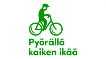 Pyörällä kaiken ikää -päivän logo, jossa vihre yksinkertaistettu siluettipiirros ikäihmisestä pyöräilemässä