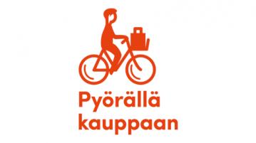 Pyörällä kauppaan -logo, jossa yksinkertaistettu punainen piirretty siluettikuva pyöräilijästä kauppakassi etukorissa