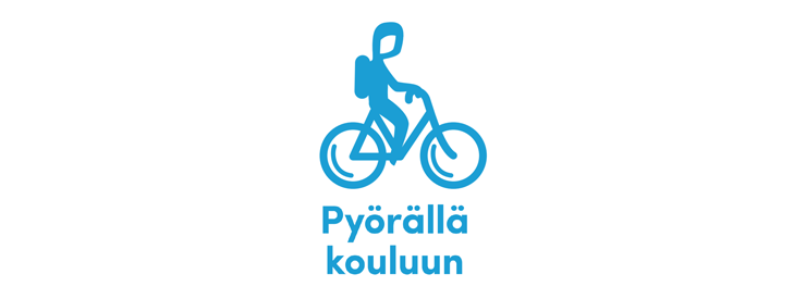 Pyörällä kouluun -logo, jossa yksinkertaistettu vaaleansininen piirretty siluettikuva lapsipyöräilijästä menossa kouluun