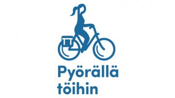 Pyörällä töihin-logo, jossa yksinkertaistettu tummansininen piirretty siluettikuva pyöräilijästä menossa töihin