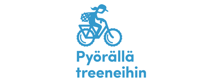 Pyörällä treeneihin -logo, jossa yksinkertaistettu vaaleansininen piirretty siluettikuva pyöräilijästä menossa treeneihin