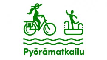 Pyörämatkailupäivä -logo, jossa yksinkertaistettu vihreä piirretty siluettikuva pyöräilijästä ja uimaan hyppäävästä henkilöstä