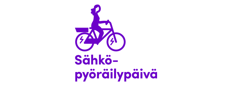 Sähköpyöräilypäivän -logo, jossa yksinkertaistettu violetti piirretty siluettikuva pyöräilijästä