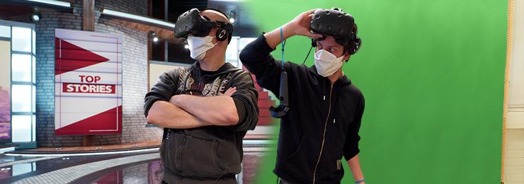 Topi ja Juho VR-lasit päässä