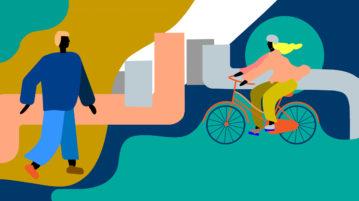 Kävelijä ja pyöräilijä abstraktissa kaupunkiympäristössä