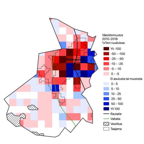 Karttakuva väestönmuutoksesta infograafin muodossa Riihimäellä