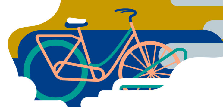 Pyörä pyörätelineessä talvella