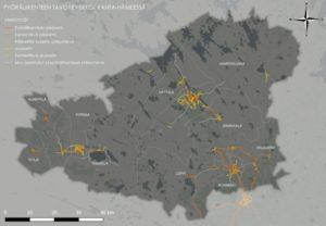 Karttapohja pyöräilyreitistöstä Kanta-Hämeessä vuodelle 2040