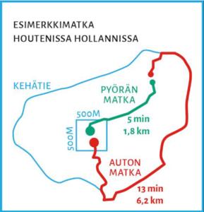 Karttakuva reittisuunnittelun periaatteista Houtenin kaupungissa Hollannissa