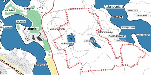 Aulangon maastopyöräreitti kartalla