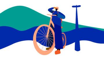 Pyöräilijä katsoo kiikareilla