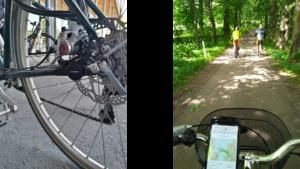 Kuva tärinämittaus-sensorista ja puhelimesta kiinni pyörän ohjaustangossa