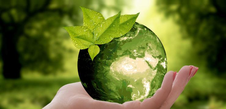 Kuvituskuva. Käsi pitelee lasipalloa. Taustalla vehreä maisema