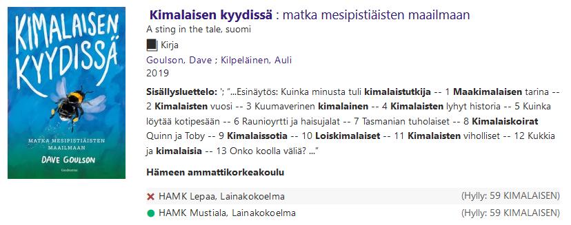 Tiedot HAMK Finnassa