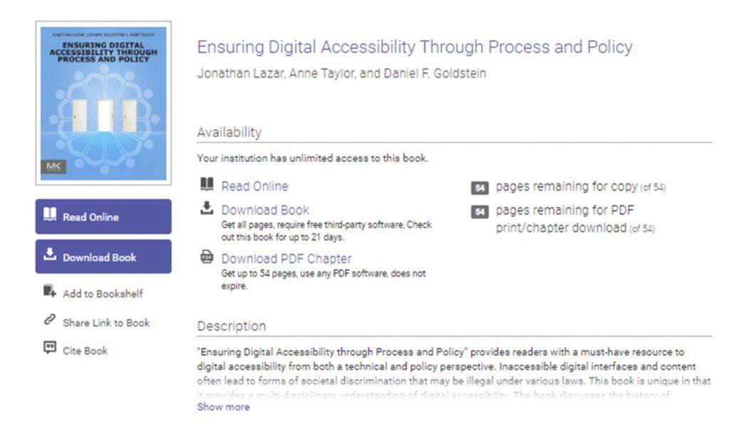 Ebook Central-palvelusta e-kirja löytyy sekä saavutettavana pdf-tiedostona että ruudunlukijoita tukevassa EPUB-muodossa.
