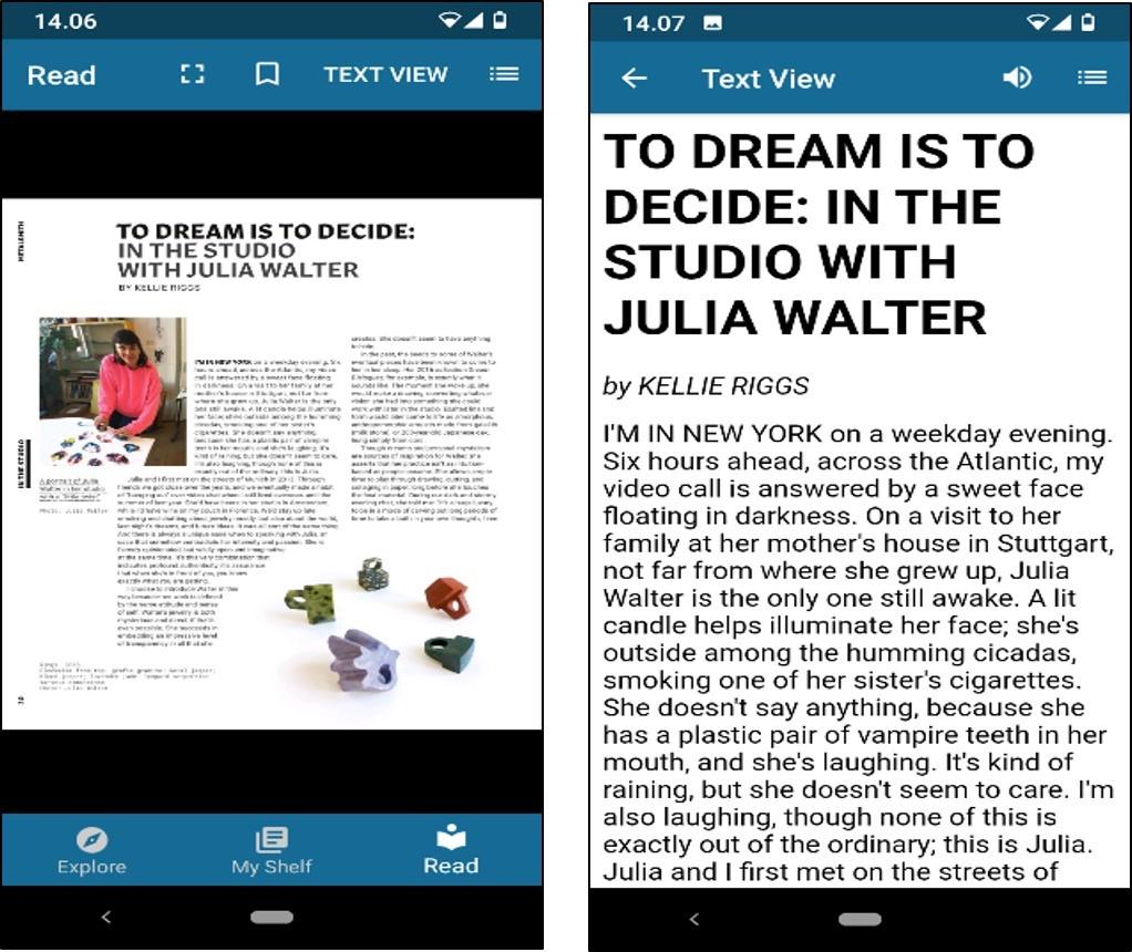 Flipster-sovelluksessa voi piilottaa kuvat valitsemalla pelkän tekstinäkymän. Artikkelin voi kuunnella sovelluksen omalla ruudunlukijalla.