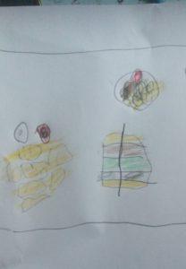 Lapsen piirros lempiruoka-annoksesta.