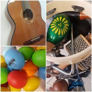 kitara, rytmimunat, soittimia