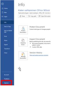 Office 365 Kielen Vaihtaminen