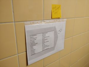 Paper and post-it note on a toilet wall