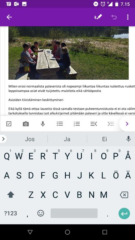 onenote editori tekstiä ja kuvaa