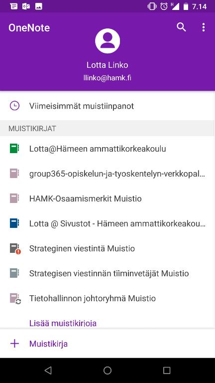 onenote-muistikirjat-etusivu-mobiilissa
