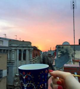 Auringonlasku ja kahvia