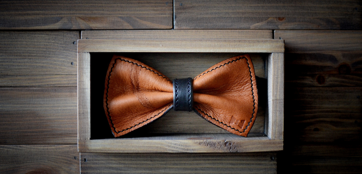 brown bow made out of leather